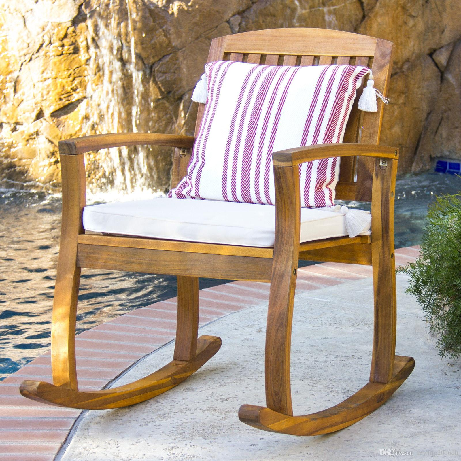2018 Outdoor Patio Acacia Wood Rocking Chair W/ Removable Seat Cushion From  Newlife2016dh, $75.38 | Dhgate.Com