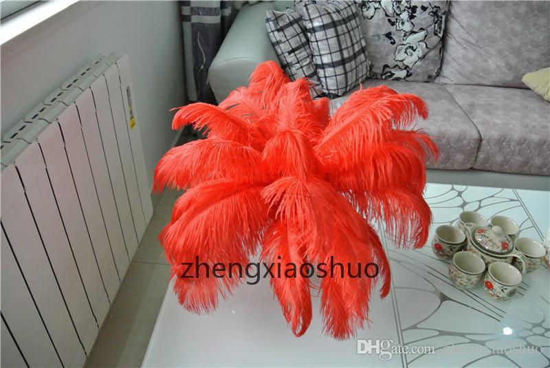 도매 Prefect 의 붉은 타조 깃털 14-16inch 웨딩 장식 중앙 장식 홈 테이블 중앙 장식