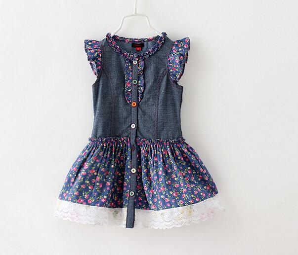 8a81b1dccc Summer Baby Girl Denim Dresses Girls Lace Flower Dress Princess ...