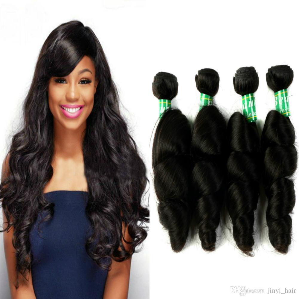 Peruvian Virgin Hair Loose Wave Hair Weave 4 Bundles 100 Remy Human