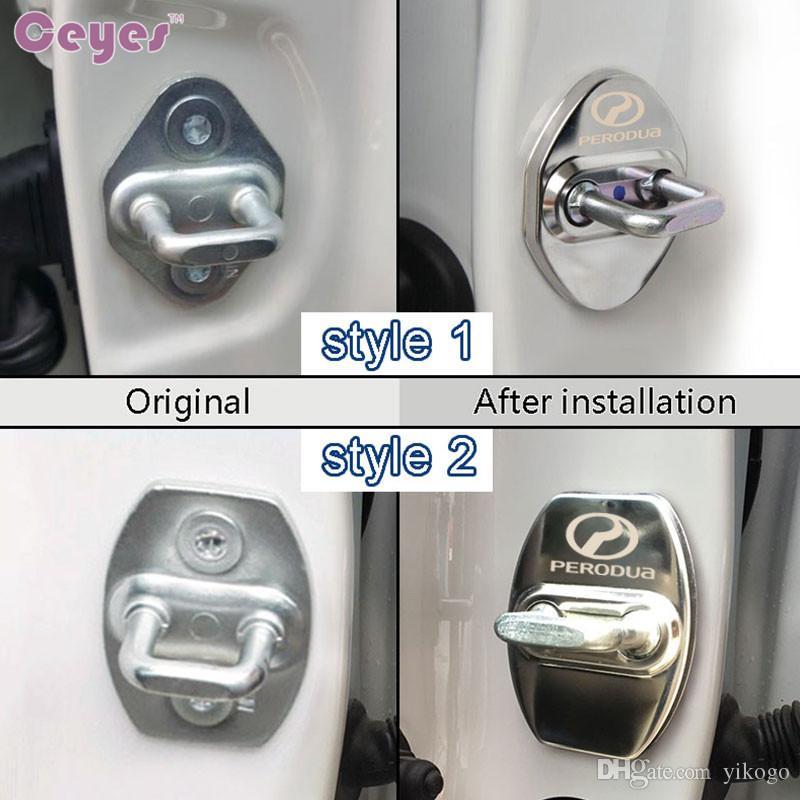 Car Stainless Steel Door Lock Cover for Perodua myvi kancil alza kembara viva kelisa Black Blue Gold Door Lock Protective Cover Car Styling