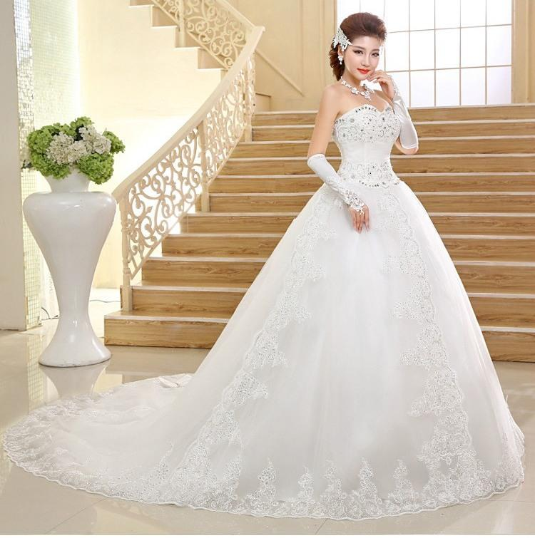 Wedding Dress 2017 New Korean Long Tailed Strapless Lace The