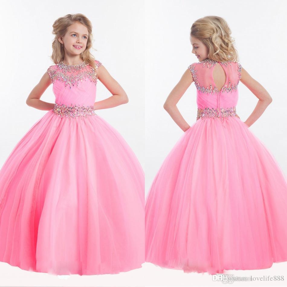 Pink Princess Flower Girls Dresses For Weddings Crystal Short
