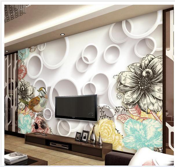 customize wallpaper papel de parede european retro line drawing bird