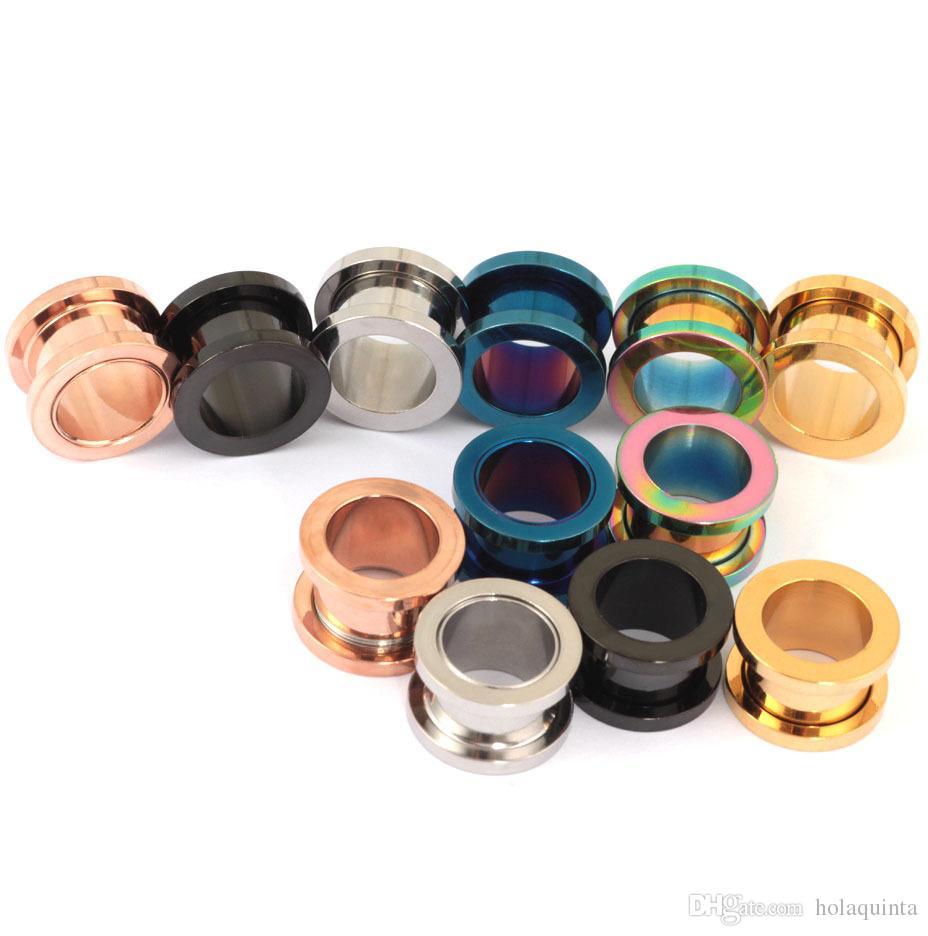 Tapones para los oídos de tornillo de acero inoxidable de 3 mm Fit Túneles de la carne del oído Piercing de la joyería Pendiente del expansor Earlet Gauges Body Piercing
