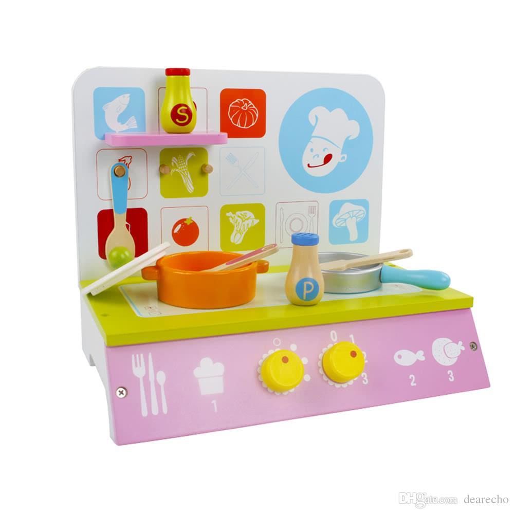 Großhandel Holz Grüne Küche Spielzeug Set Mit Kochbank Und Topf ...