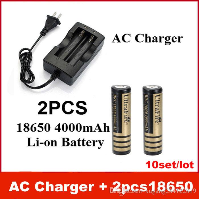 HOT AC Charger(EU/US) + 2 pcs Excellent UltraFire 18650 3.7V 4000mAh Rechargeable Li-ion Battery