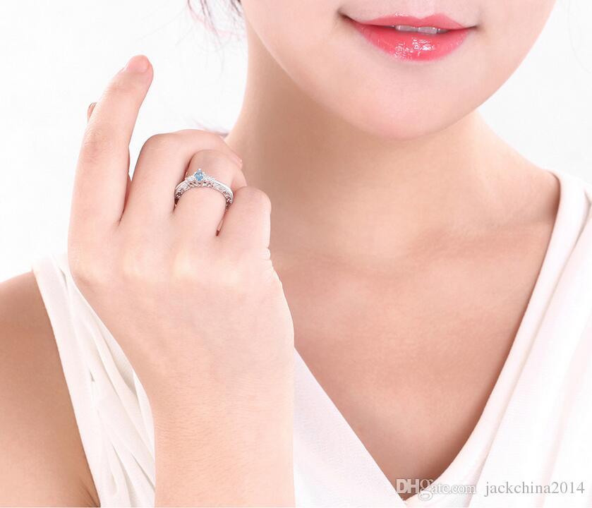 Простые ретро ювелирные изделия пальцем кольцо Choucong бренд Desgin 925 стерлингового серебра декоративные декоративные розыгрыши грушевые аквамарин драгоценные камни циркония женские кольца