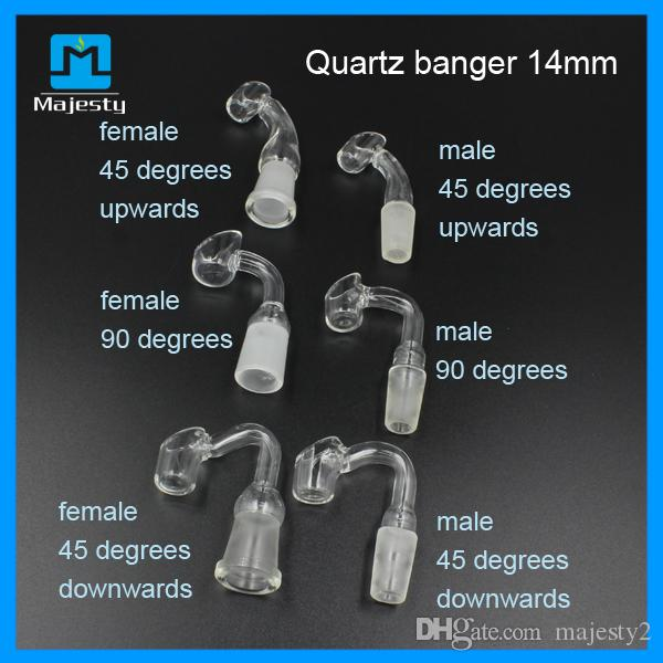2015 10mm 14mm 18mm Kuvars Banger Kadın Erkek Cam Yağ Rigs Için 45 veya 90 Derece Kuvars Banger