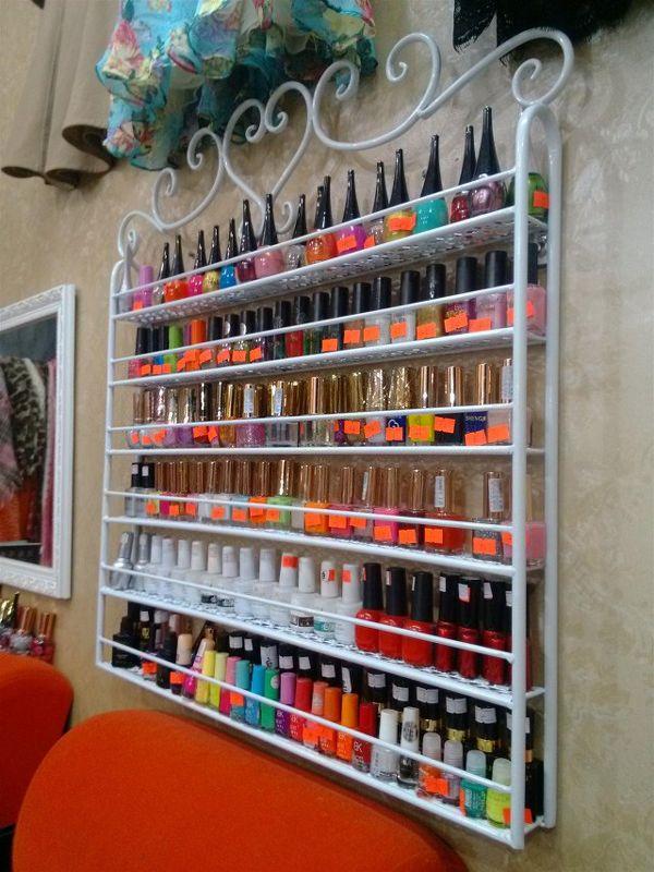 2018 Wrought Iron Nail Polish Display Shelf Nail Salons Cosmetics Display Shelf Hanging Nail