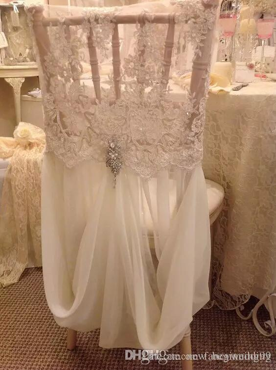 Custom Made 2017 Ivory Lace Chiffon Crystal Chair Covers Vintage Romantic Chair Sashes Beautiful Fashion Wedding Decorations