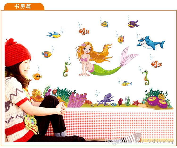 60*90cm Mermaid Cartoon Wall stickers home decor removable pvc Kids Room Decal wall art decals Wallpaper Halloween Christmas gift
