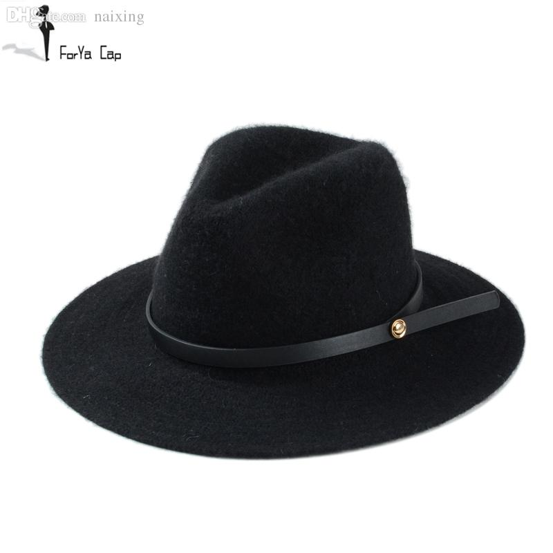 a8ac6f151c2 2018 Wholesale 2015 Hot Autumn And Winter Wool Fedora Hat Hat For Man And  Women Big Brim Size Hat Fine Bandwidth Eaves From Naixing