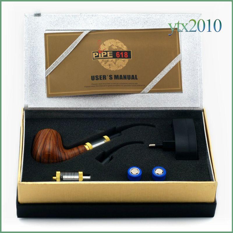 E Tube 618 Saúde Fumar Cigarro Eletrônico 2.5ml Tanque E Tubulação Transparente Vaporizador 18350 Bateria Design De Madeira Reusável E Cigarro