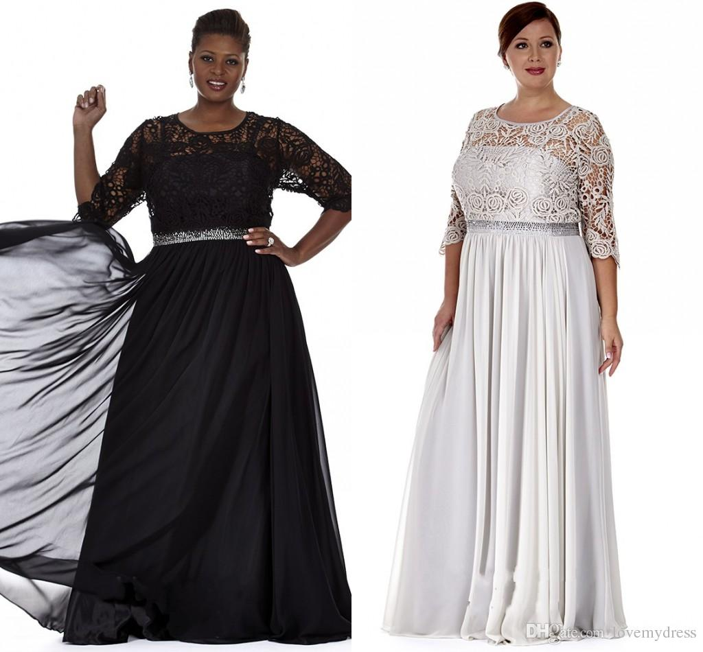 Black Silver Plus Size Mother Of The Bride Dresses Appliques Plus Size  Mother Evening Gowns Formal Prom Dress With Bling Sequins Waist Plus Size  Gown ...