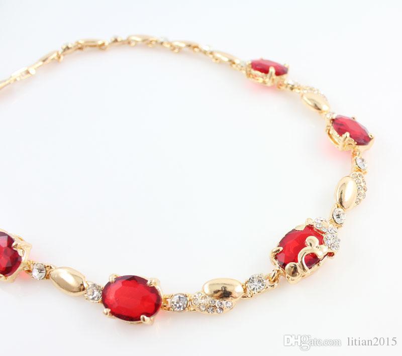 Mulheres 18 K Banhado A Ouro Conjuntos de Jóias Nova Moda Vermelho Áustria Cristal Rhinestone Acessórios Do Casamento Conjunto Colar Dubai