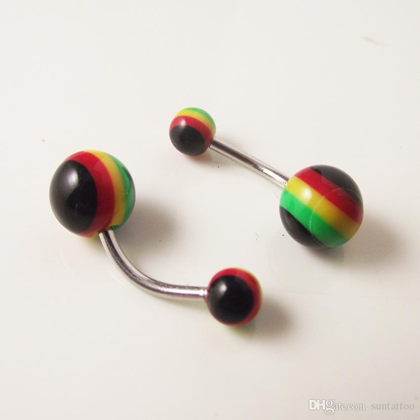 New Wholesale 100pcs 14g Belly Button Ring Candy Color Plain Ball Acrylic Mixed Banana Curved Piercing