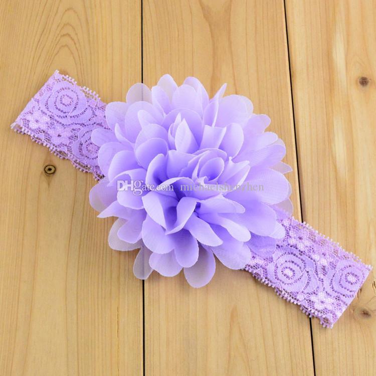 Dentelle de bébé fleur bande de cheveux 16 couleur soie bande de corde de cheveux tricoté bandeau élastique Head Bands bébé bande de cheveux B001