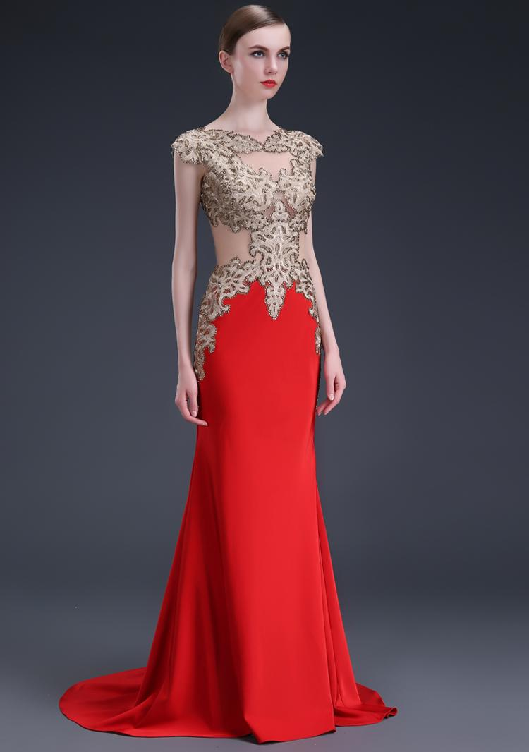 2017 Bride Wedding Dress Fashion High End Red Tail High End Banquet