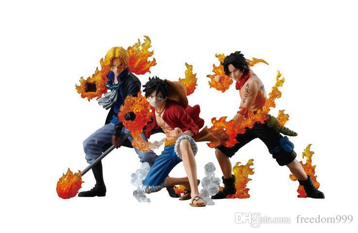 3 шт. / Компл. One Piece Атака Стайлинг Луффи + Сабо + Туз ПВХ Фигурки Коллекционная Модель Игрушки бесплатная доставка