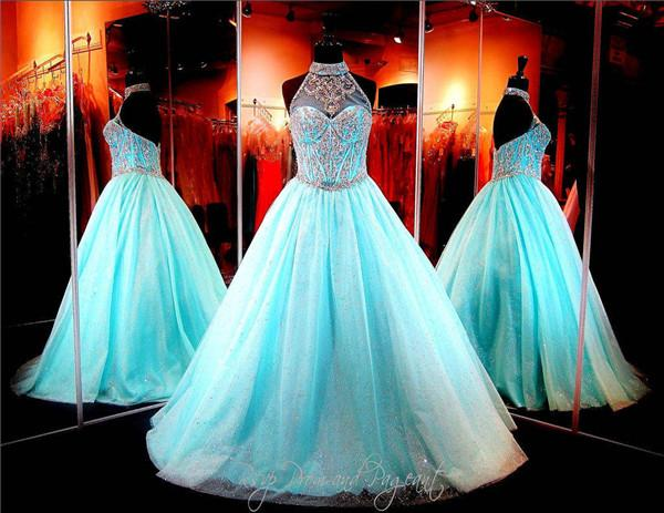 2020 Gorgeous Halter Prom Dresses Sheer Crystal Beaded Sequins Tulle Ball Gown Backless Evening Party Formal Dress Plus Size Custom Made