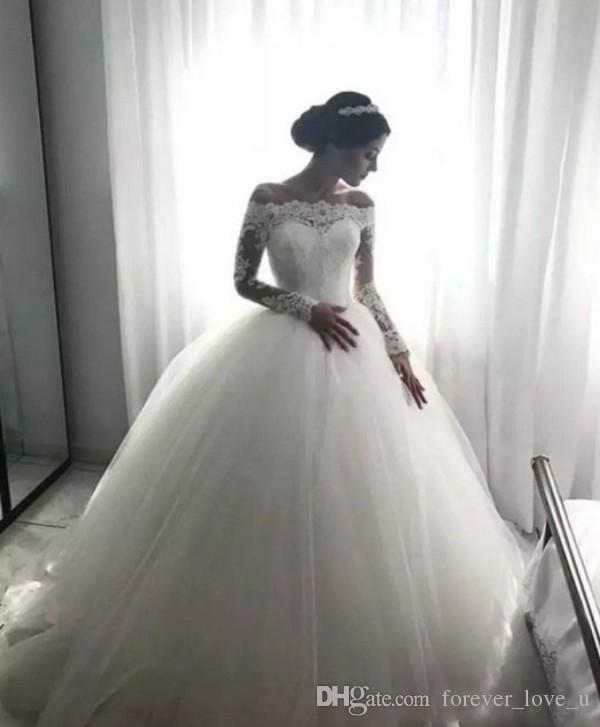 2019 Charming weg vom Schulter-Hochzeitskleid Illusion SpitzeAppliques Langarm Brautkleider Tüllrock Brautkleides