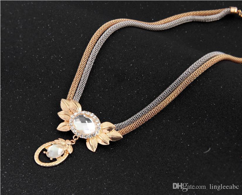 Satış moda abartılı altın kaplama bilezik kolye küpe yüzük Setleri