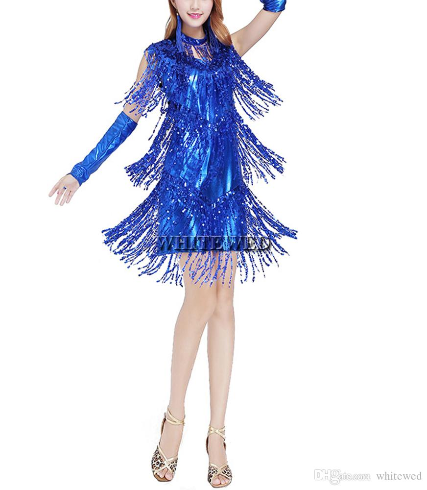 Mulheres borla borla latina salão salsa cha cha samba rumba jive dancewear competição fancy dress trajes para venda V Neck