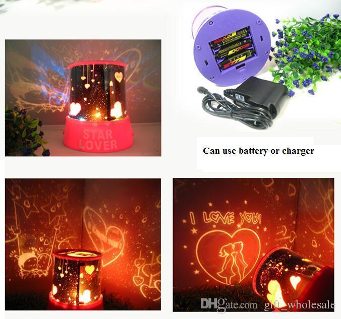 새로운 스타일의 화려한 코스모스 별 레이저 LED 프로젝터 스타 프로젝터 램프 LED 야간 랜턴 7 색
