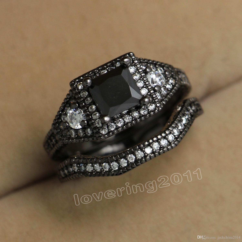 Boyutu 5-10 Ücretsiz kargo Retro Takı 10kt siyah altın dolgulu beyaz topaz Gem kadın düğün simüle Elmas Alyans seti hediye