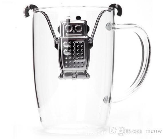 Робот Чай Infuser Чай Из Нержавеющей Стали Ситечко Милый Робот Кофе Трава Душистый Чай Фильтр Мяу