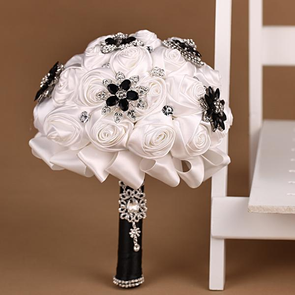 2015 Concise White And Black Wedding Bouquet With Satin Roses Rhinestones Handmade Supplies Cheap Bridal 20141210t Fresh Flower Bouquets
