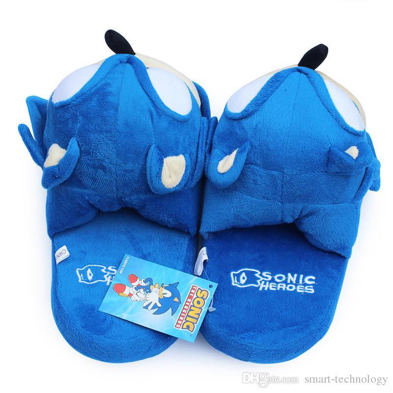 pantoufles Sonic bleu en peluche Poupée 11 pouces adulte en peluche Sonic Chaussons Livraison gratuite