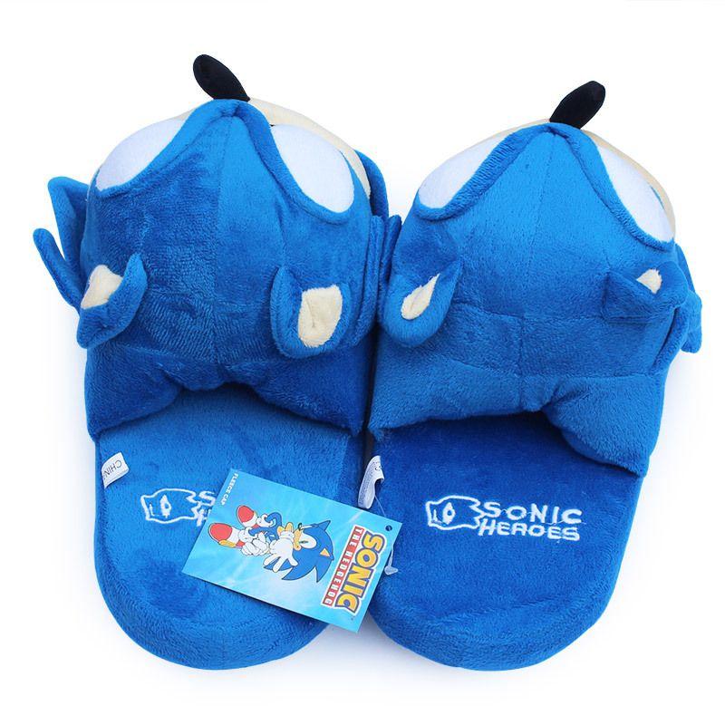 Sonic Pantoffeln blau Plüsch-Puppe 11 Zoll Adult Plüsch Sonic Hausschuhe Freies Verschiffen