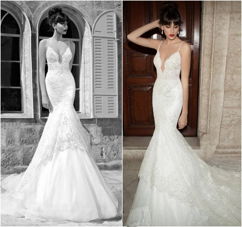 Lace Mermaid Wedding Gown With Straps: Sexy Berta 2016 Lace Backless Mermaid Wedding Dresses