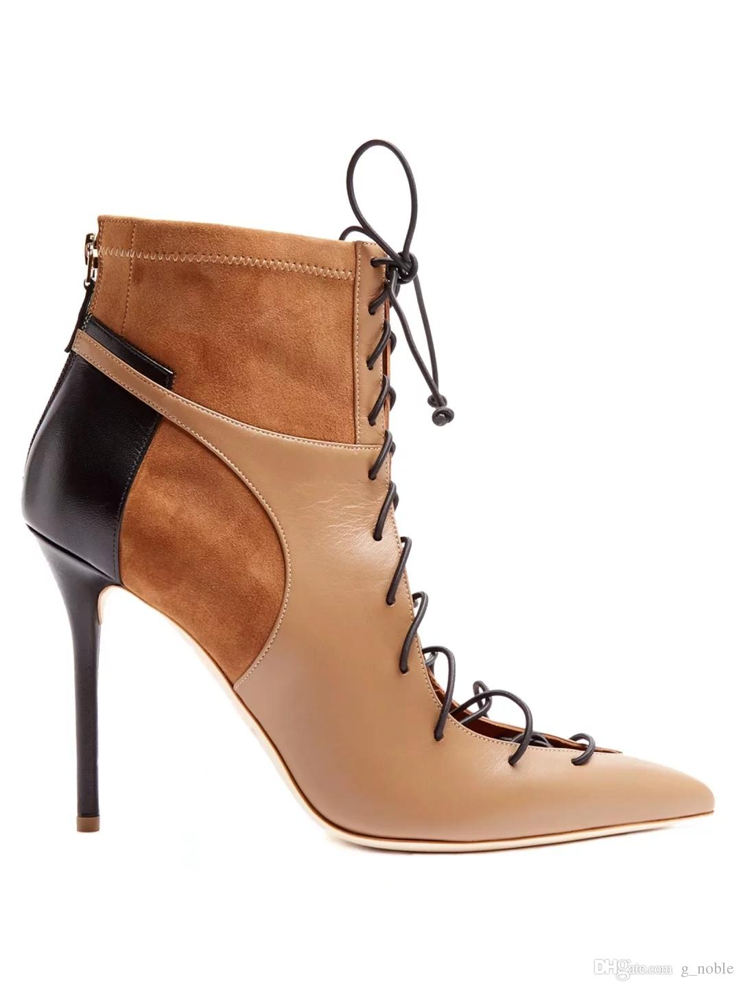 3e4ba830567 Suede Patchwork Stiletto Heel Pointy Lace Up Strappy High Heel Boots Sexy  Hollow Out Trendy Ankle Boots Fashion Shoes Women Cat Boots Shoe Sale From  G noble ...
