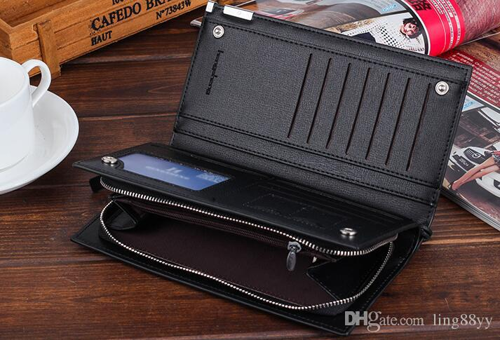 Men Wallets male long zipper wallet men's wrist strap holds the phone bag large capacity leather wallet