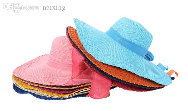 d7dbdd4e3f9 Wholesale  Bag Women Sun Straw Hat Cap Foldable Floppy Wide Large Brim  Sunproof Summer Beach Linen Bowknot Vacation Tour Visor Hats Boater Hat  From Naixing