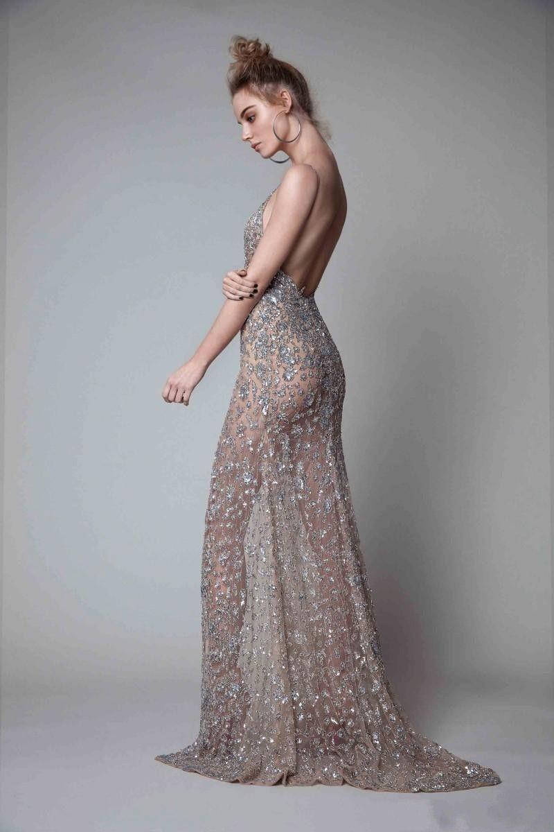 New Berta Vorderseite Split Abendkleider Strass Ärmel Tiefer Ausschnitt Abendkleid Backless Fußboden-Längen-formale Abendkleider