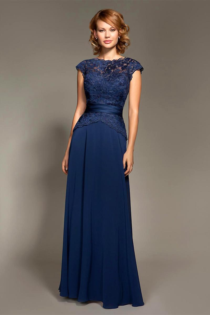 Navy Blue Evening Dresses Lace Bodice Bateau Neck Cup Sleeves With ...