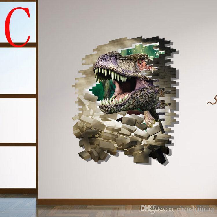 Compre Mezclado Nuevo Dinosaurio 3d Pegatinas De Pared Decorativos Vinilos Decorativos Papel Tapiz De Dibujos Animados Kids Party Decoración Navidad
