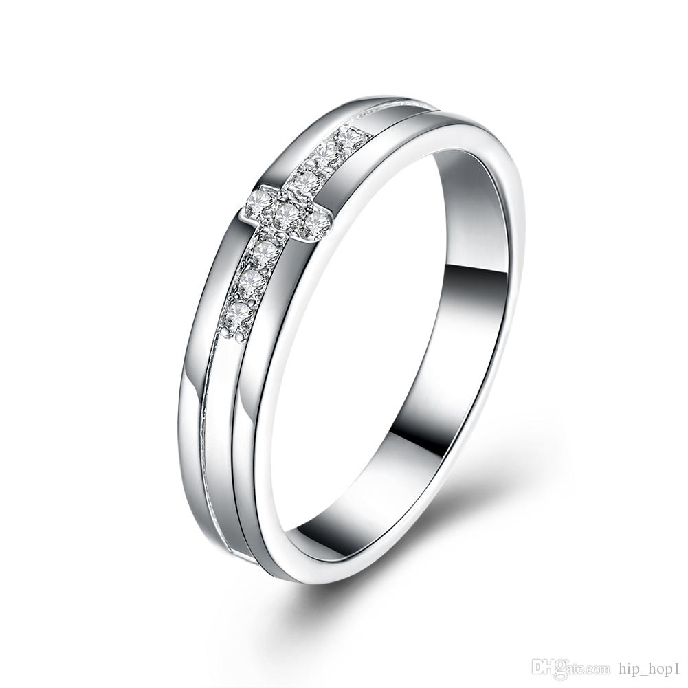 2018 Cross Ring Women Beautiful Crystal Rings Inlaid Zircon Silver ...