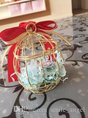 Свадебные коробки для подарков Металлическая золотая клетка в форме красной ленточной ленты Творческая романтическая свадьба 2018 Новое прибытие Dropship