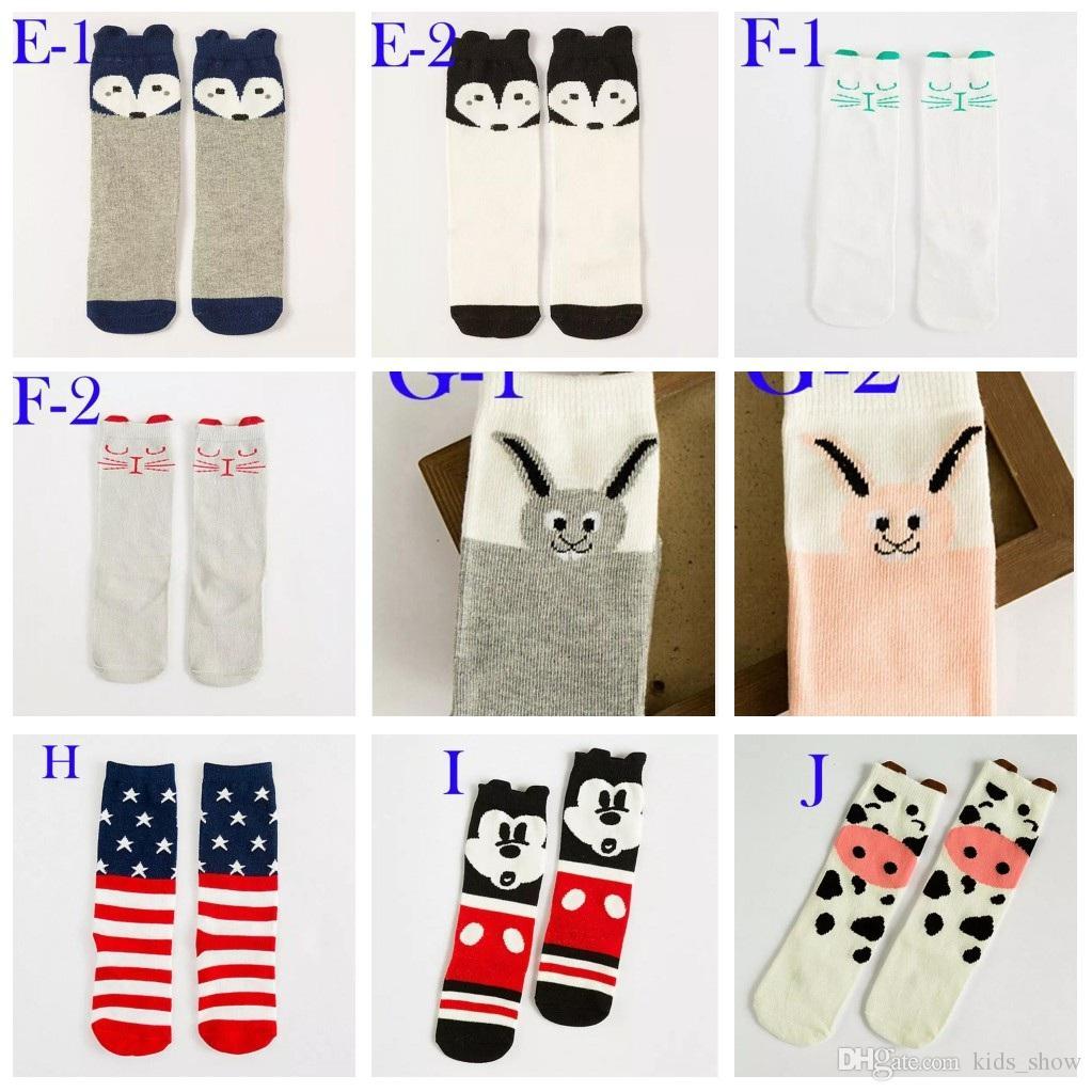 Unisex cartoon Animal leg warmers 2017 Fashion baby girls & boys knee high Totoro Panda Fox socks kids cute Striped Knee Pad sock
