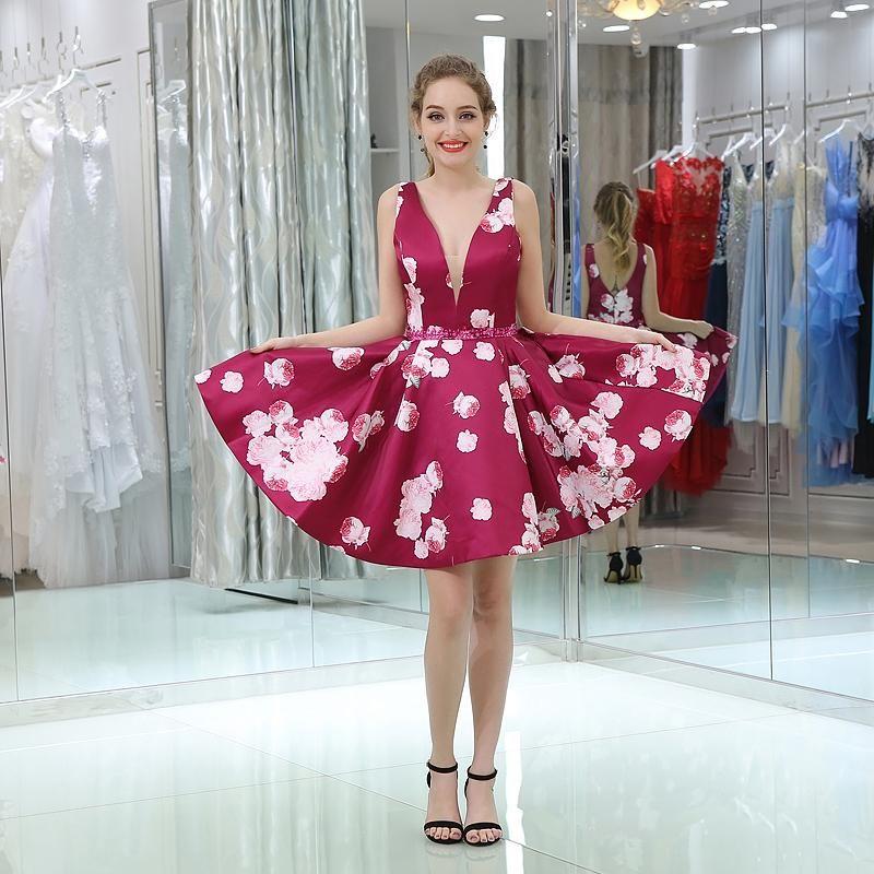 Compre Vestidos De Baile Corto Rojo Oscuro Profundo V Cuello Sin ...