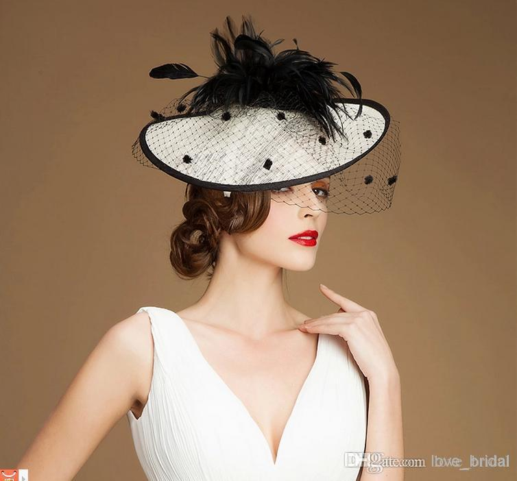 2019 2015 Best Selling White Sinamay Hat Black Feather Fascinator Netting  Wedding Bridal Hats Evening Party Banquet Hats Caps From Love bridal fea42a7d424