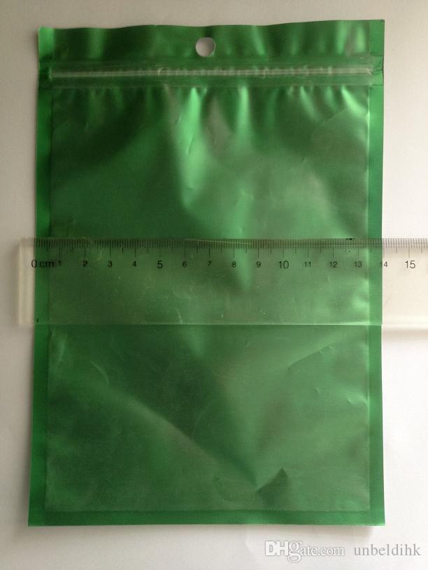 14 متر * 20 سنتيمتر واضح + الأخضر الذاتي ختم زيبر الأعلى الألومنيوم foilplastic حقيبة ل الهاتف المحمول التبعي حالة حزمة حزمة مع هانغ هول