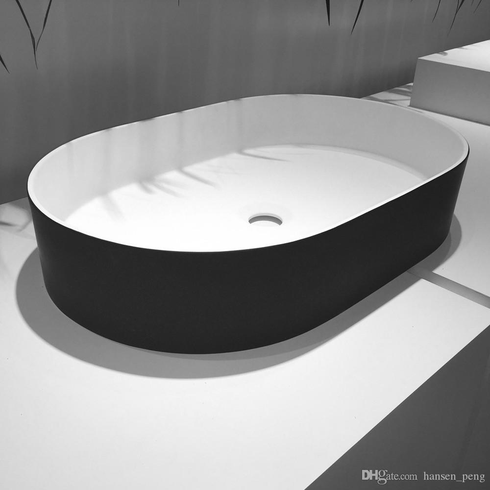 Oval Bathroom Solid Surface Stone Wall Hung Sink And Fashionable Cloakroom Stone Wall Mounted Wash Basin RS38335