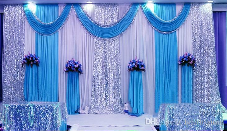 3m*6m Milk White Wedding Backdrop Curtains Lake Blue Swag With ...