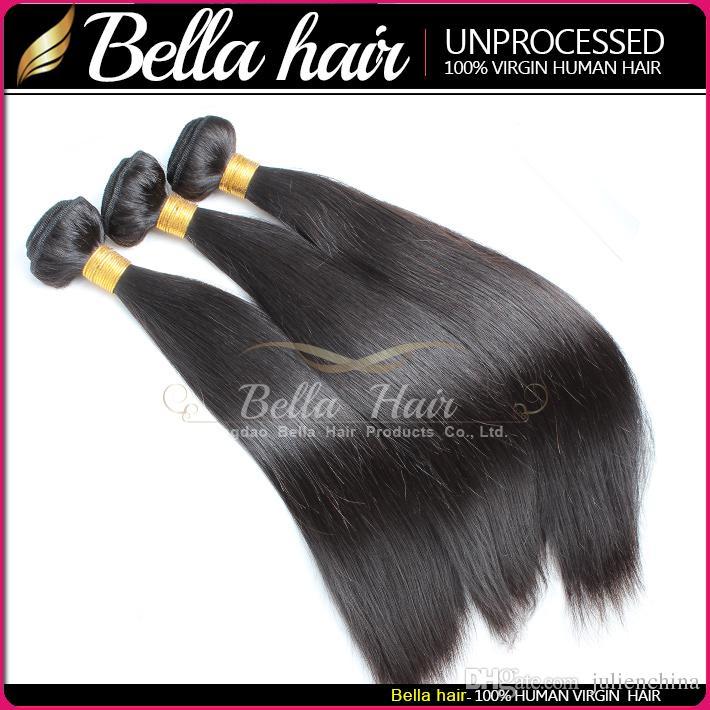 Белла Hair® Купить 2 Get 1 Free High Quality 9А бразильские волосы девственницы человеческих волос Weave 10 ~ 24inch шелковистые прямые волосы Уток Бесплатная доставка